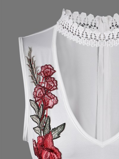 Choker Floral Embroidered Bodysuit - WHITE M Mobile