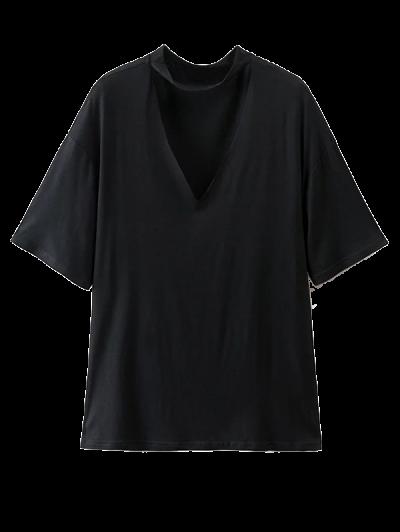 Choker Drop Shoulder T-Shirt - BLACK L Mobile