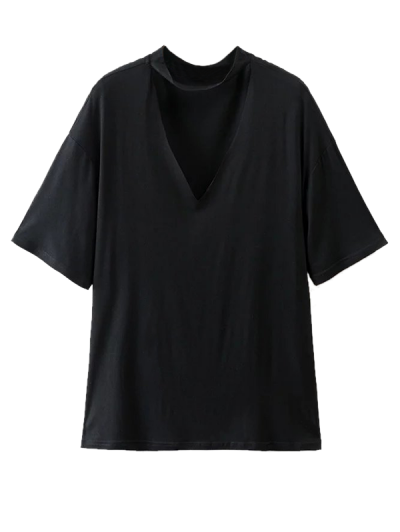 Choker Drop Shoulder T-Shirt - BLACK M Mobile
