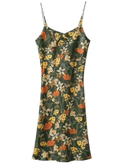 Cut Out Tiny Floral Slip Dress - ARMY GREEN L Mobile