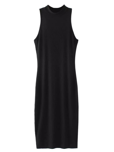 Slit Sleeveless Bodycon Ribbed Dress - BLACK ONE SIZE Mobile