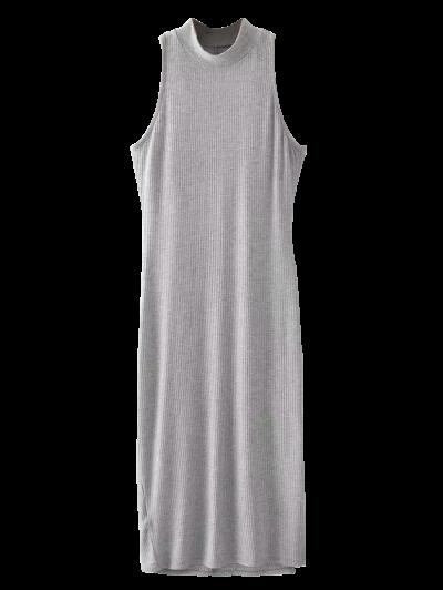 Slit Sleeveless Bodycon Ribbed Dress - LIGHT GRAY ONE SIZE Mobile