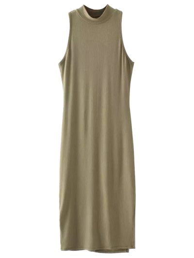 Slit Sleeveless Bodycon Ribbed Dress - OLIVE GREEN ONE SIZE Mobile