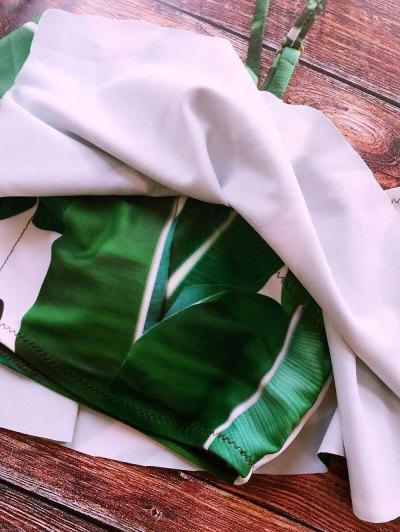 Palm Tree Leaf Print Ruffles Bikini - GREEN L Mobile
