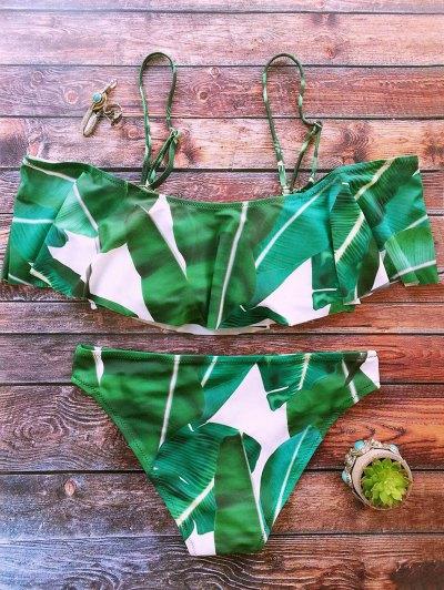 Palm Tree Leaf Print Ruffles Bikini - GREEN S Mobile