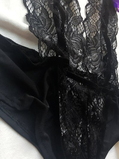 Plunging Neck Lace Teddy - BLACK L Mobile