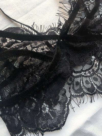 Adjusted Straps Sheer Lace Bra Set - BLACK M Mobile