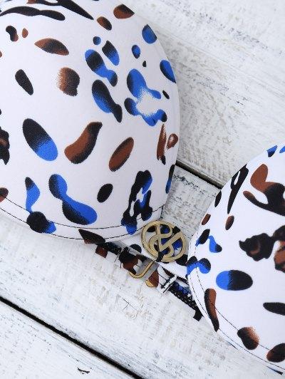Strappy Halter Bowknot Leopard Bikini Set - WHITE S Mobile