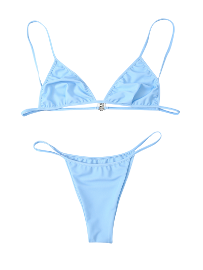 Unlined Strappy Plunge Bikini Set - LIGHT BLUE XL Mobile