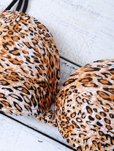 Bowknot Strappy  Halter Leopard Bikini Set - LEOPARD L Mobile
