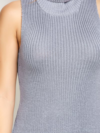 Sleeveless Cowl Neck Sweater Dress - GRAY M Mobile