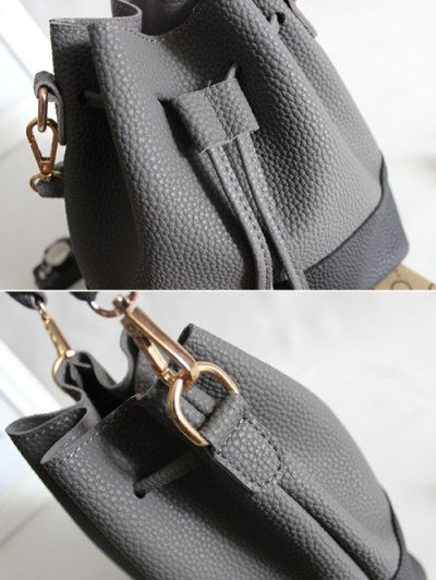 Faux Leather Color Block Bucket Bag - LIGHT GRAY  Mobile