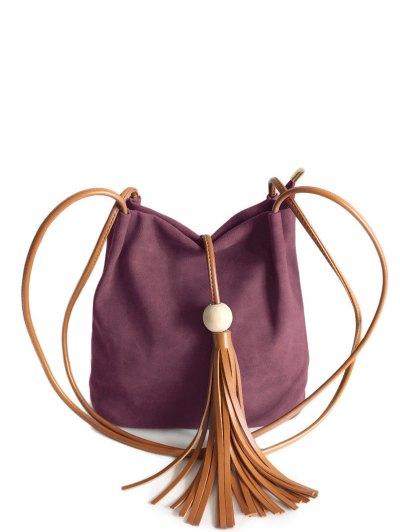 Tassel Wood Bead Shoulder Bag - PURPLISH RED  Mobile
