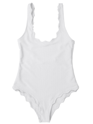 Low Back Scalloped One Piece Swimwear - White