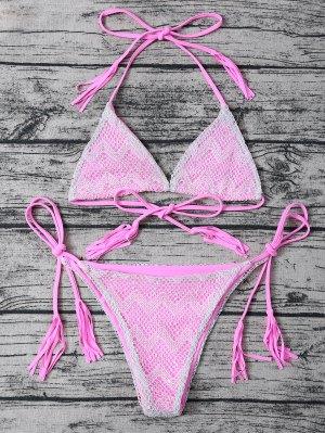 Tassel String Lace Thong Bikini - Pink