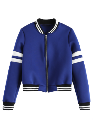 Striped Sleeve Bomber Jacket - Blue