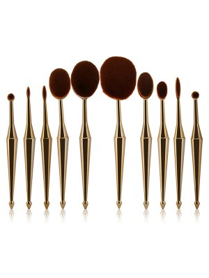 Mermaid Shape Makeup Brushes Set - Golden