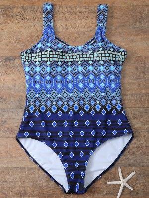 Plus Size Crosscriss Printed One-Piece Swimwear - Blue