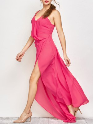 High Slit Asymmetric Prom Dress - Sangria