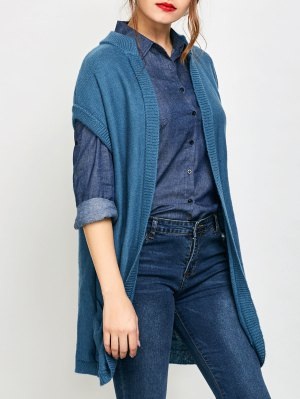 Short Sleeve Knitted Cardigan With Pockets - Blue