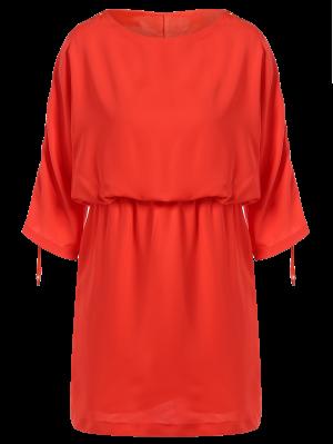 Robe De Taille Mince à Col Rond Et à Manches Coulissées - Saumon