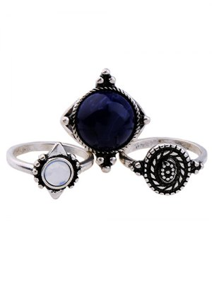 Artificial Sapphire Ring Set - Silver