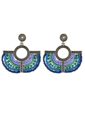 Beads Geometric Vintage Drop Earrings - Blue