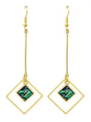 Faux Gem Square Vintage Drop Earrings - Golden