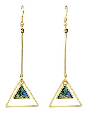 Faux Gem Triangle Vintage Drop Earrings - Golden
