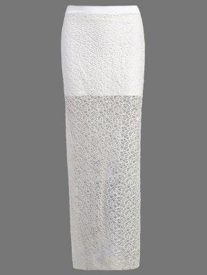 Long Lace Slit Skirt - White