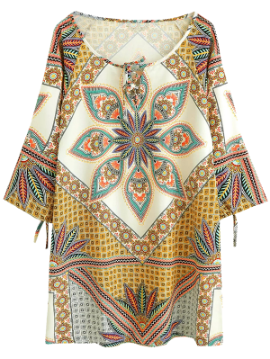 Printed Ralgan Sleeve Mini Tunic Dress - Brown