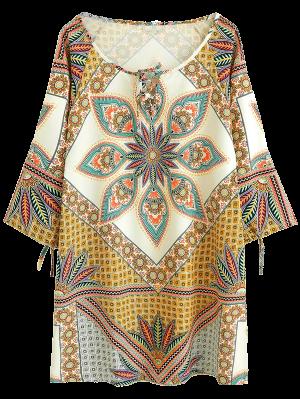 Printed Ralgan Sleeve Mini Tunic Dress - Brown