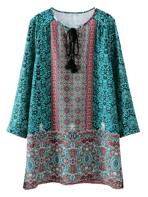 Printed Vintage Long Sleeve A-Line Dress - Green