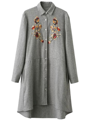 Embroidered Long Sleeve Tunic Shirt Dress - Gray