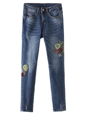 Dark Wash Frayed Floral Embroidered Jeans - Deep Blue