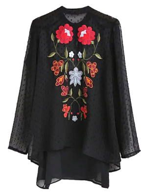 Choker Embroidered Sheer Blouse And Tank Top - Black