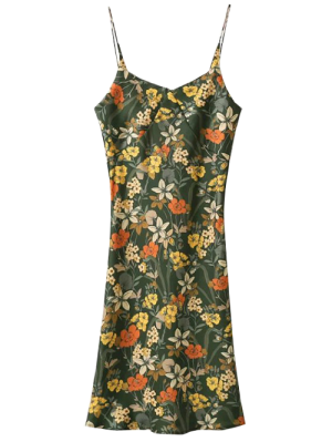 Cut Out Tiny Floral Slip Dress - Army Green