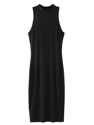 Slit Sleeveless Bodycon Ribbed Dress - Black