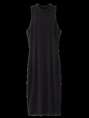 Slit Sleeveless Bodycon Ribbed Dress - Black