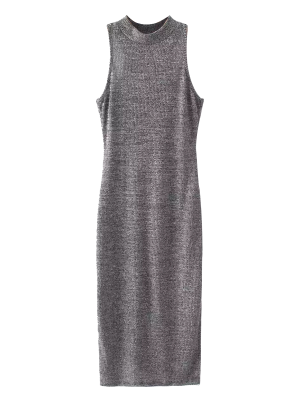 Slit Sleeveless Bodycon Ribbed Dress - Gray