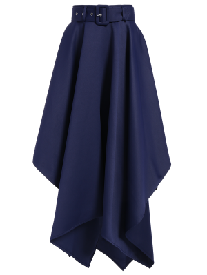 Hanky Hem Maxi Skirt - Deep Blue