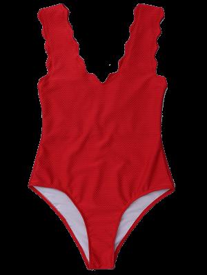 V Neck Scalloped One Piece Swimwear - Deep Red