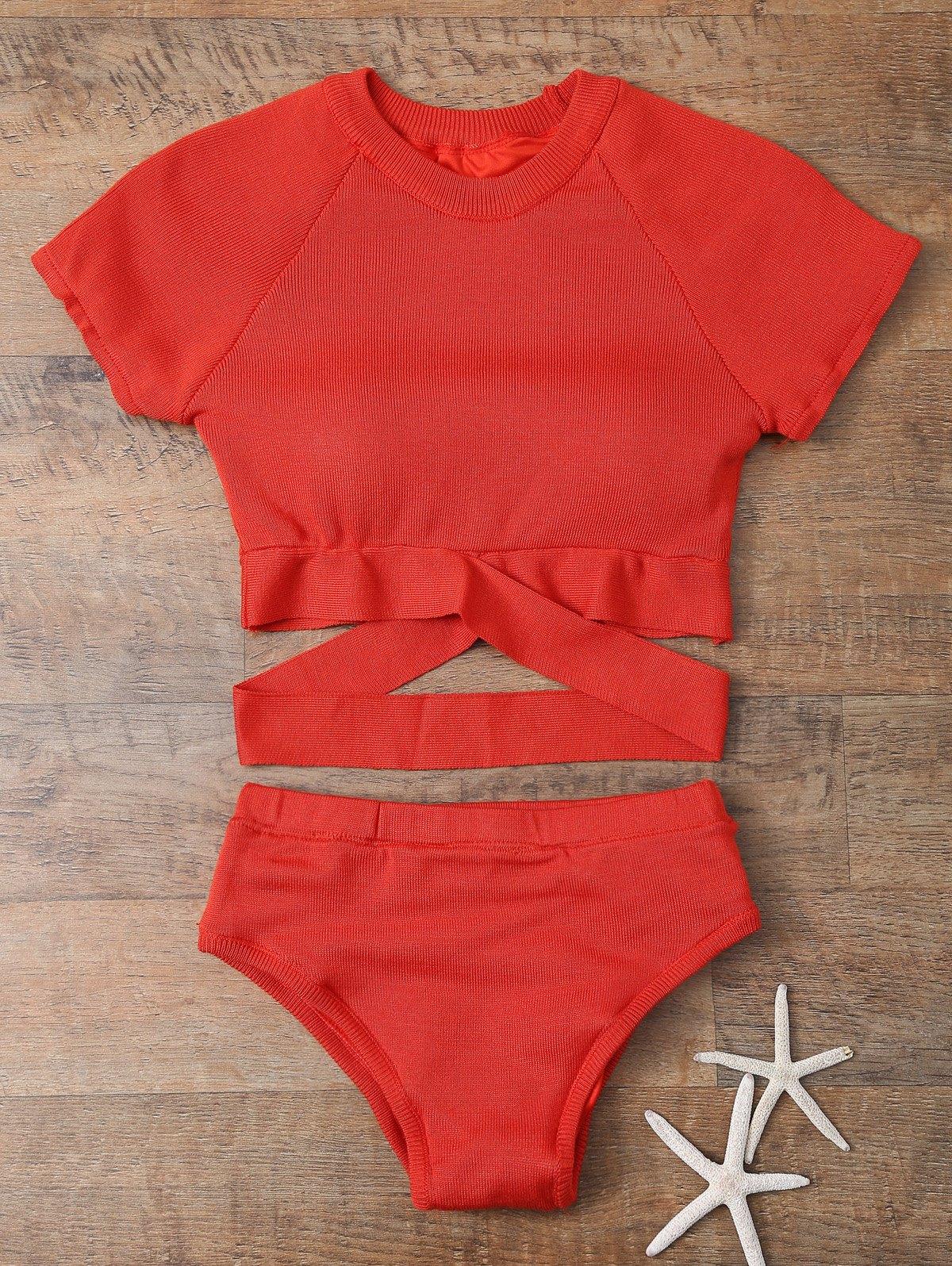 Short Sleeve High Neck Bikini