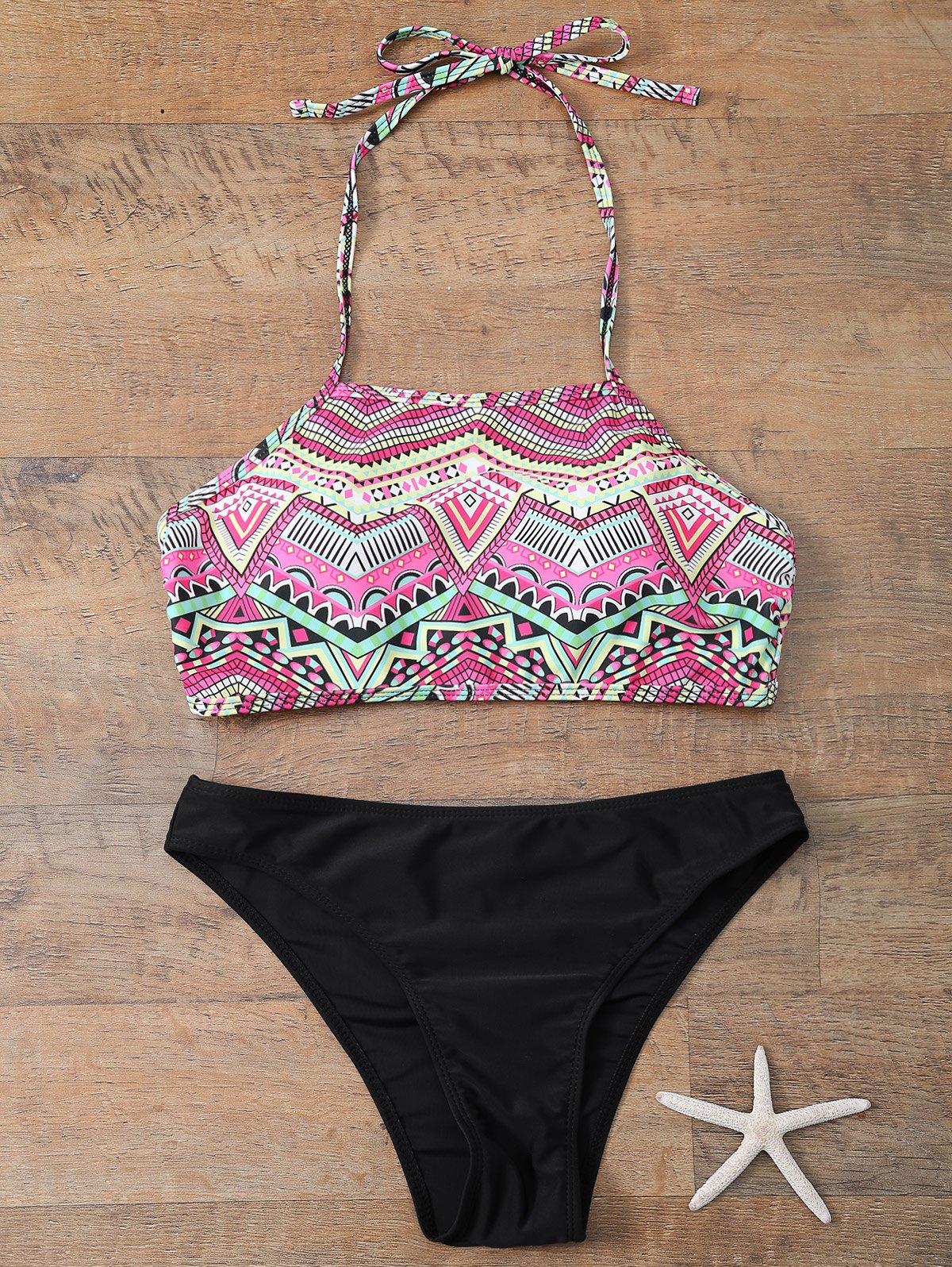 Halter Geometric Print Bikini Set