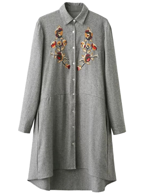 Embroidered Long Sleeve Tunic Shirt Dress от Zaful.com INT