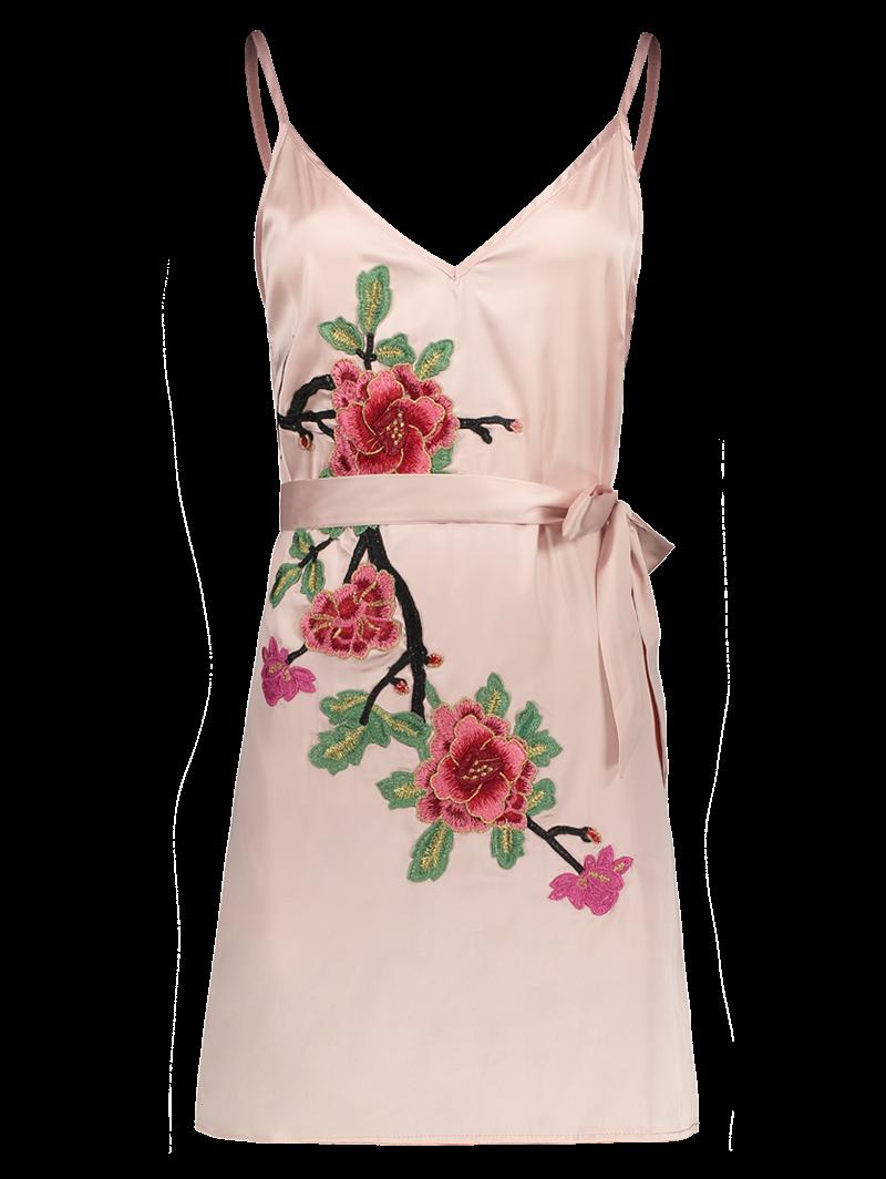 Floral Embroidered Mini Slip Dress