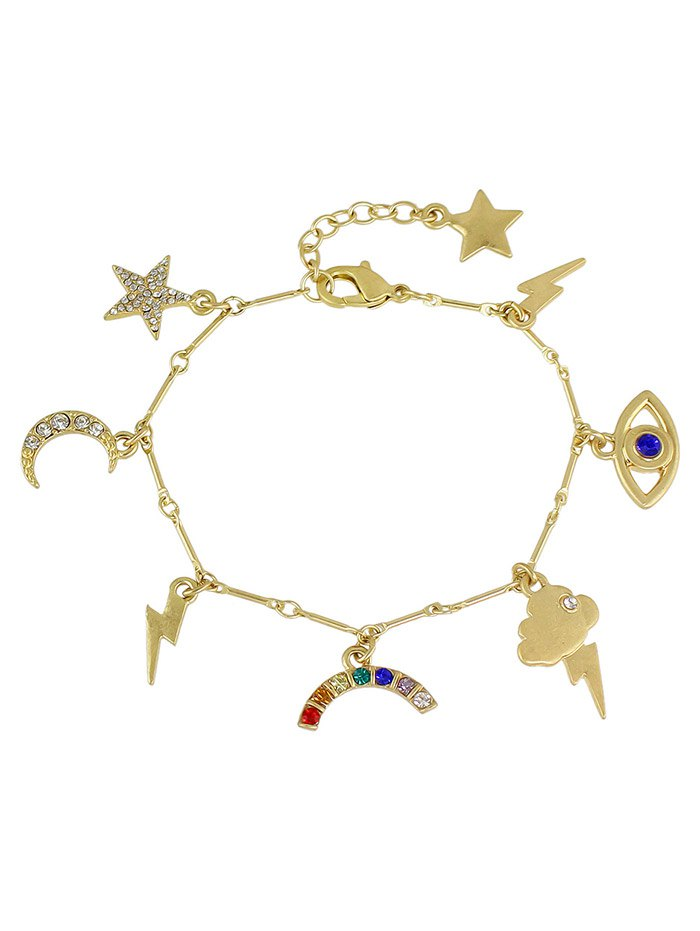 Rhinestone Moon Star Lightning Eye Bracelet