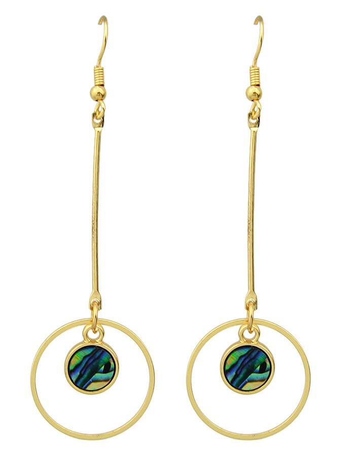 Vintage Faux Gem Circle Drop Earrings