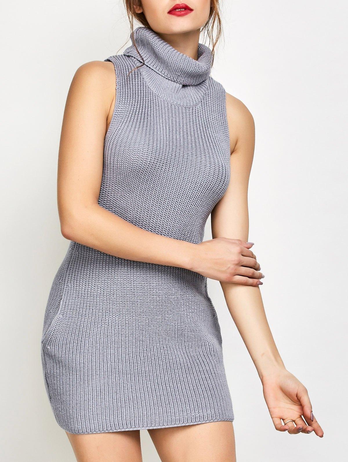 Cowl Neck Sleeveless Sweater Dress