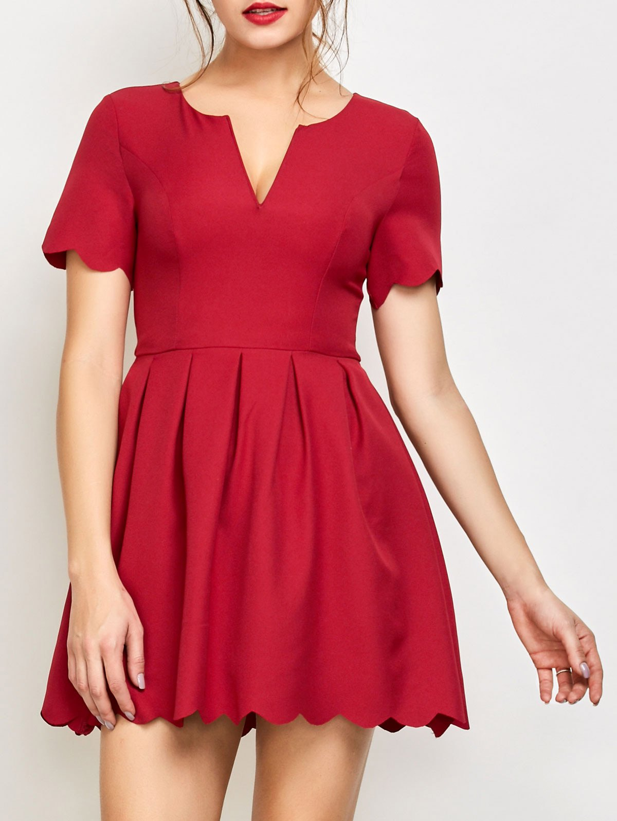 Scalloped Ruched Mini Dress